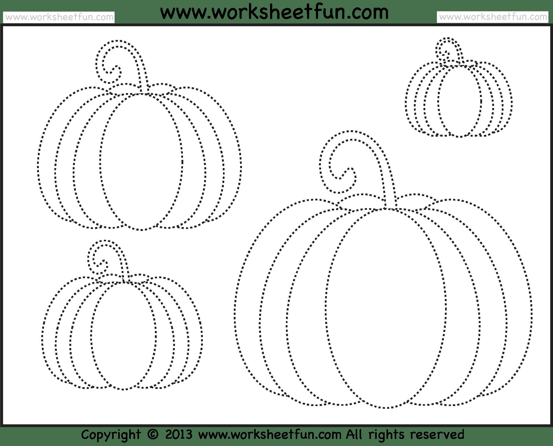 Pumpkin Tracing 3 Worksheets Free Printable Worksheets