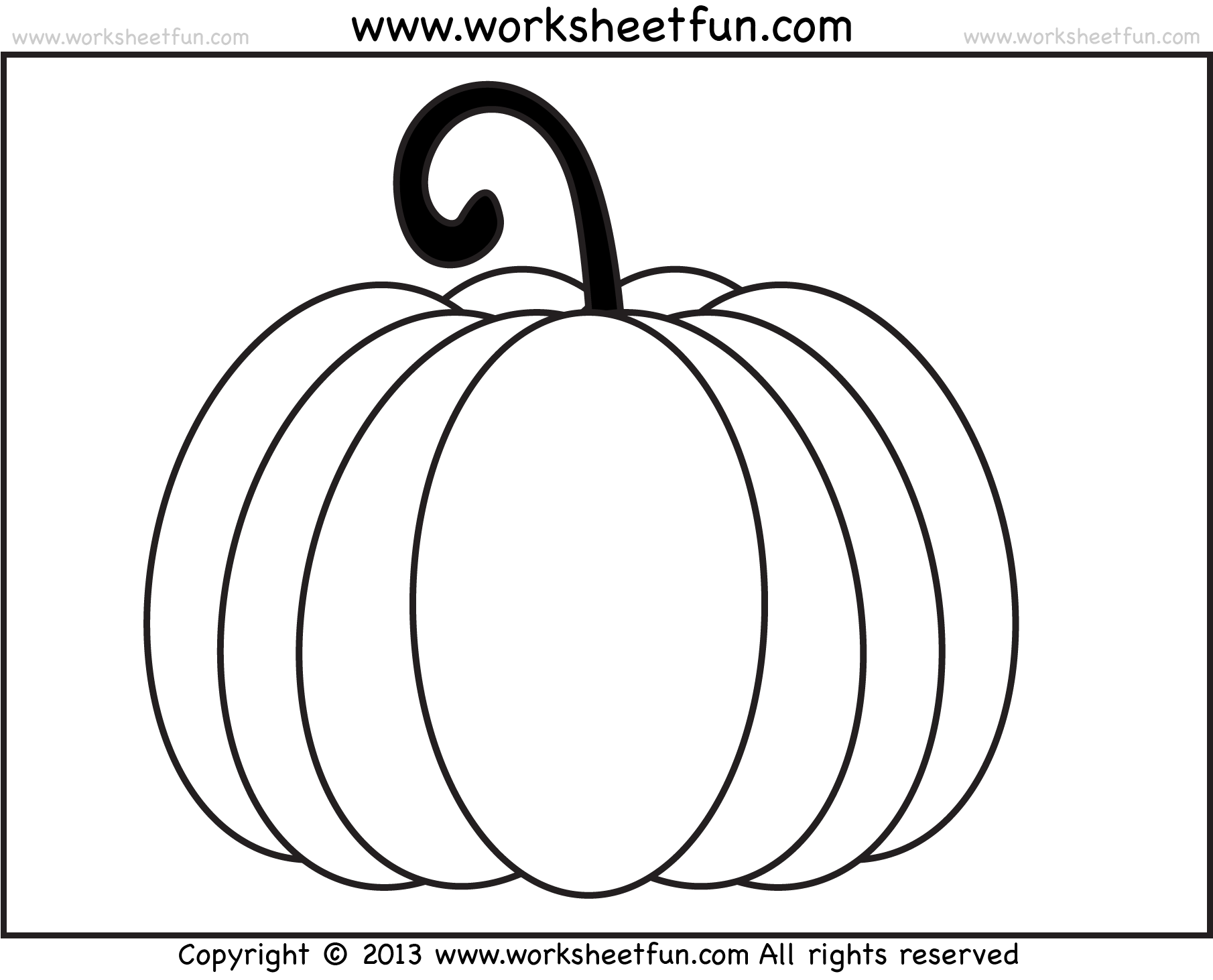 Pumpkin Coloring 3 Worksheets Free Printable
