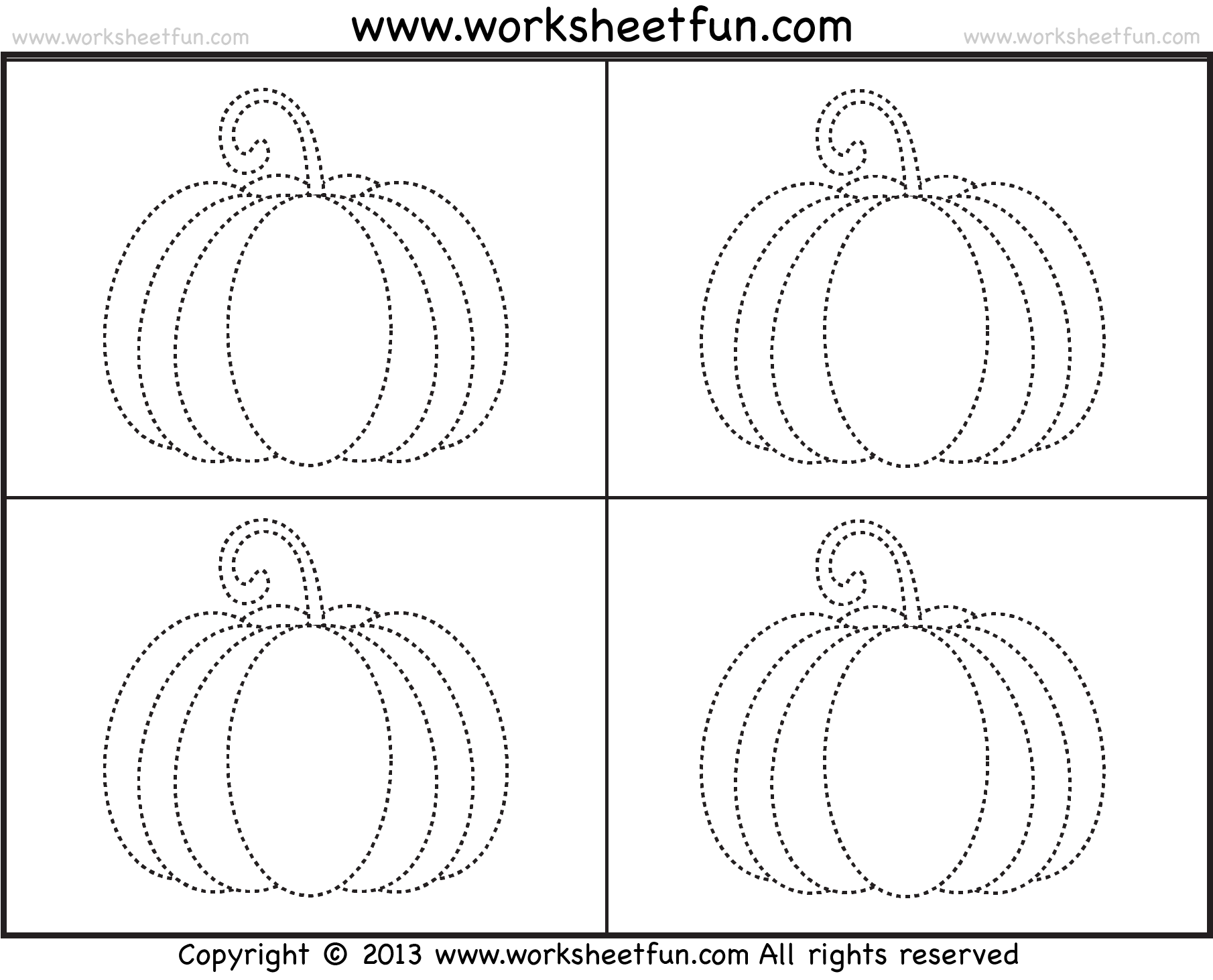 Pumpkin Tracing 3 Worksheets Free Printable Worksheets Worksheetfun