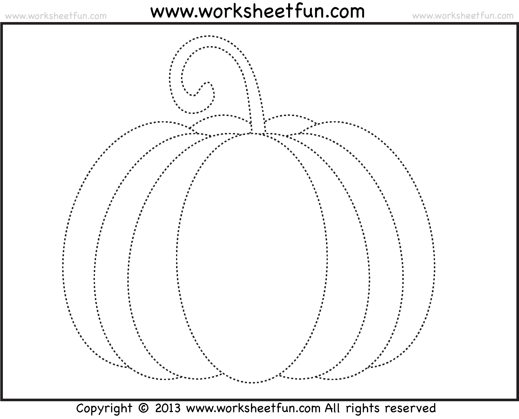 Pumpkin Line Tracing Worksheet