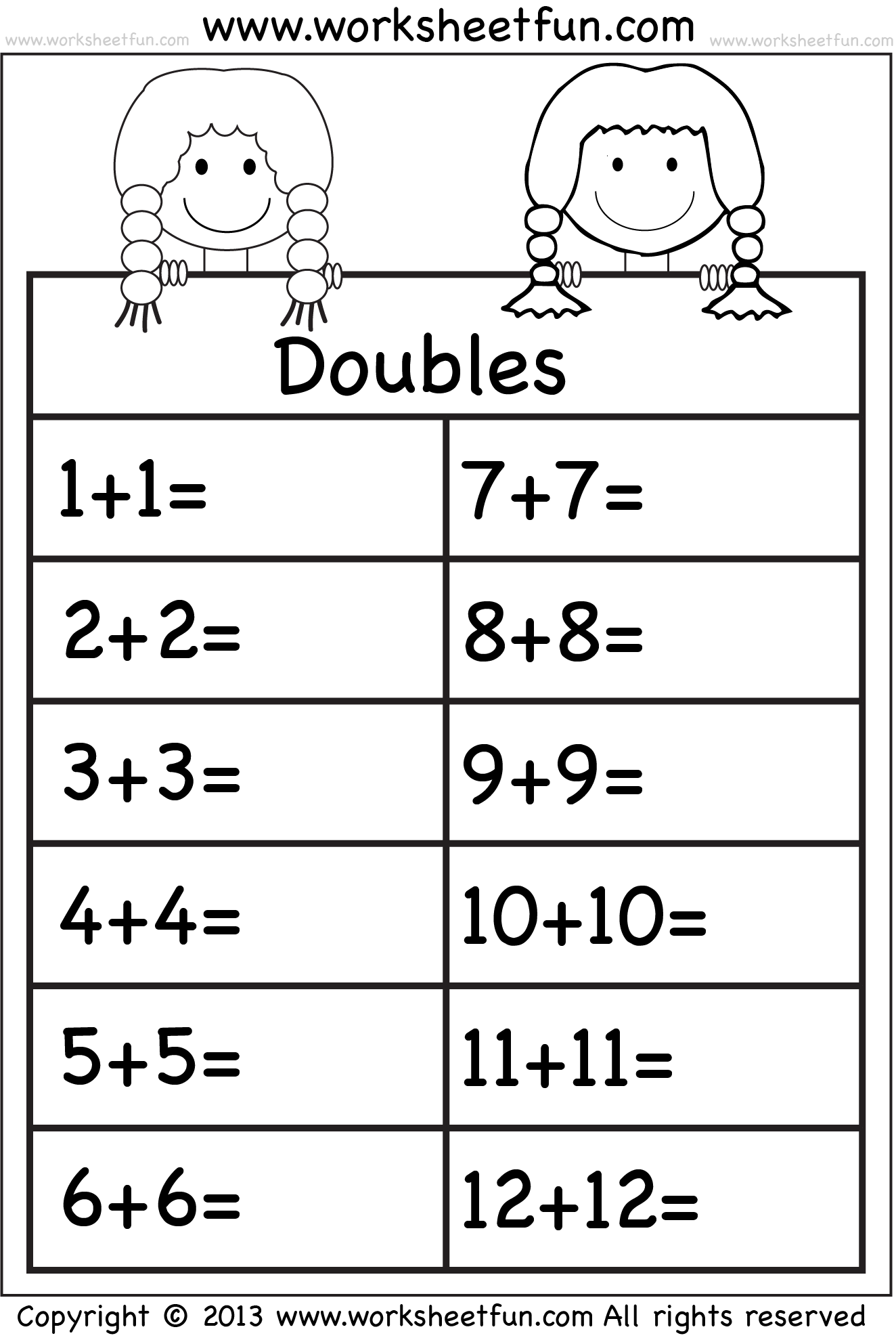 Doubles Math Facts Worksheet 19 Best Images Of Doubles