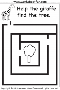 Beginner Mazes Preschool And Kindergarten 1 Worksheet Free Printable Worksheets Worksheetfun