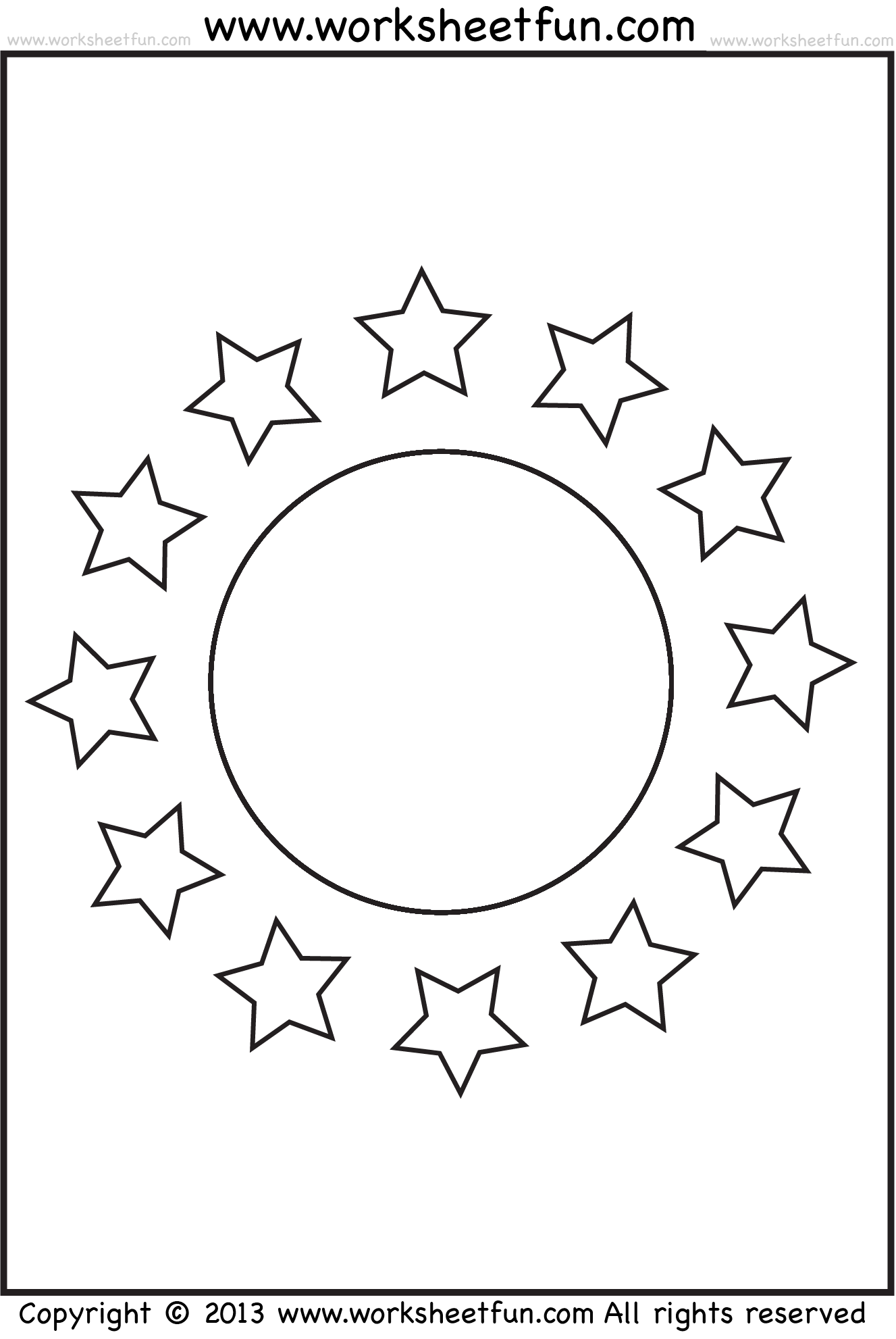 Shape Coloring Worksheet Circle And Stars Free Printable Worksheets Worksheetfun