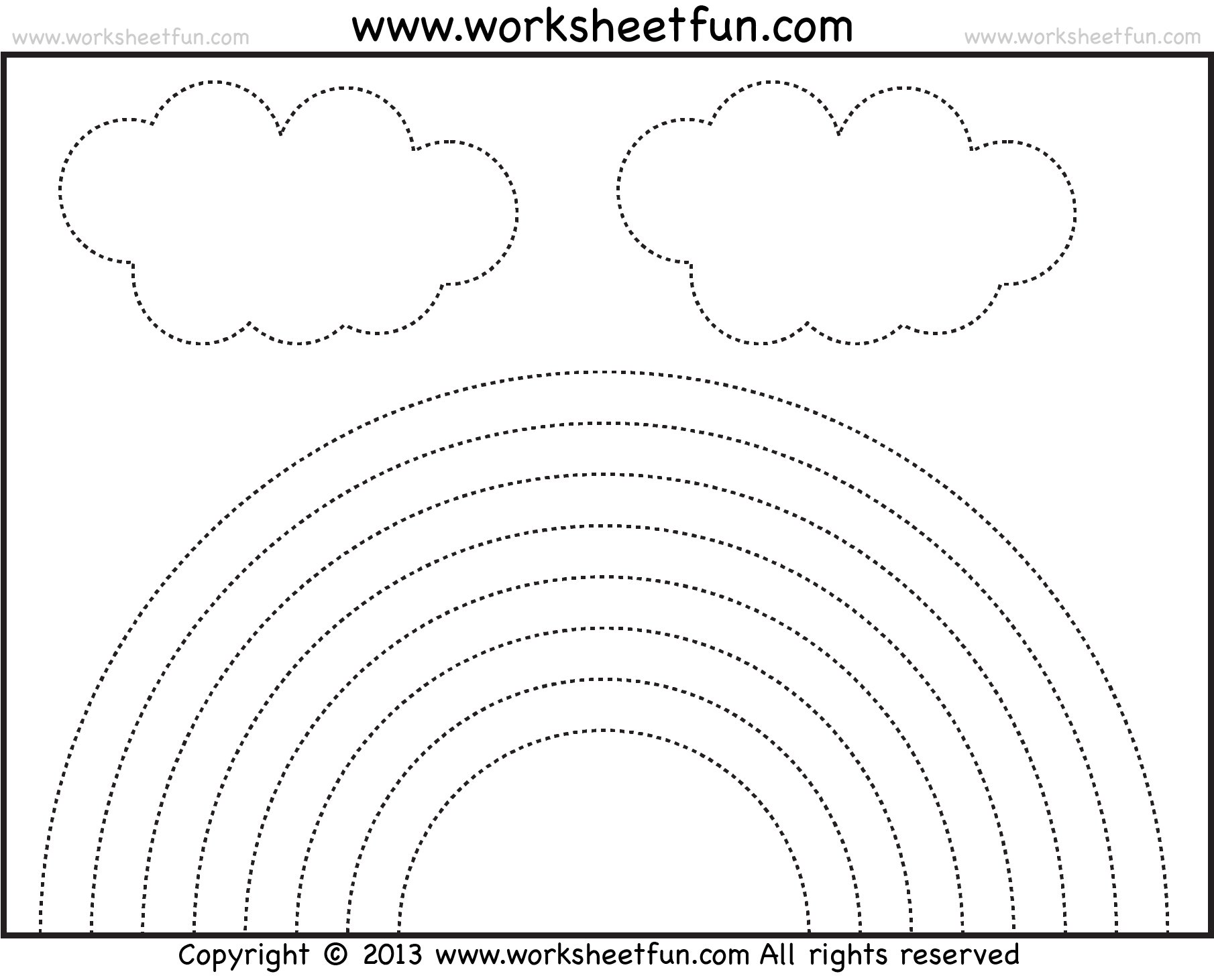 Rainbow Tracing And Coloring 4 Preschool Worksheets