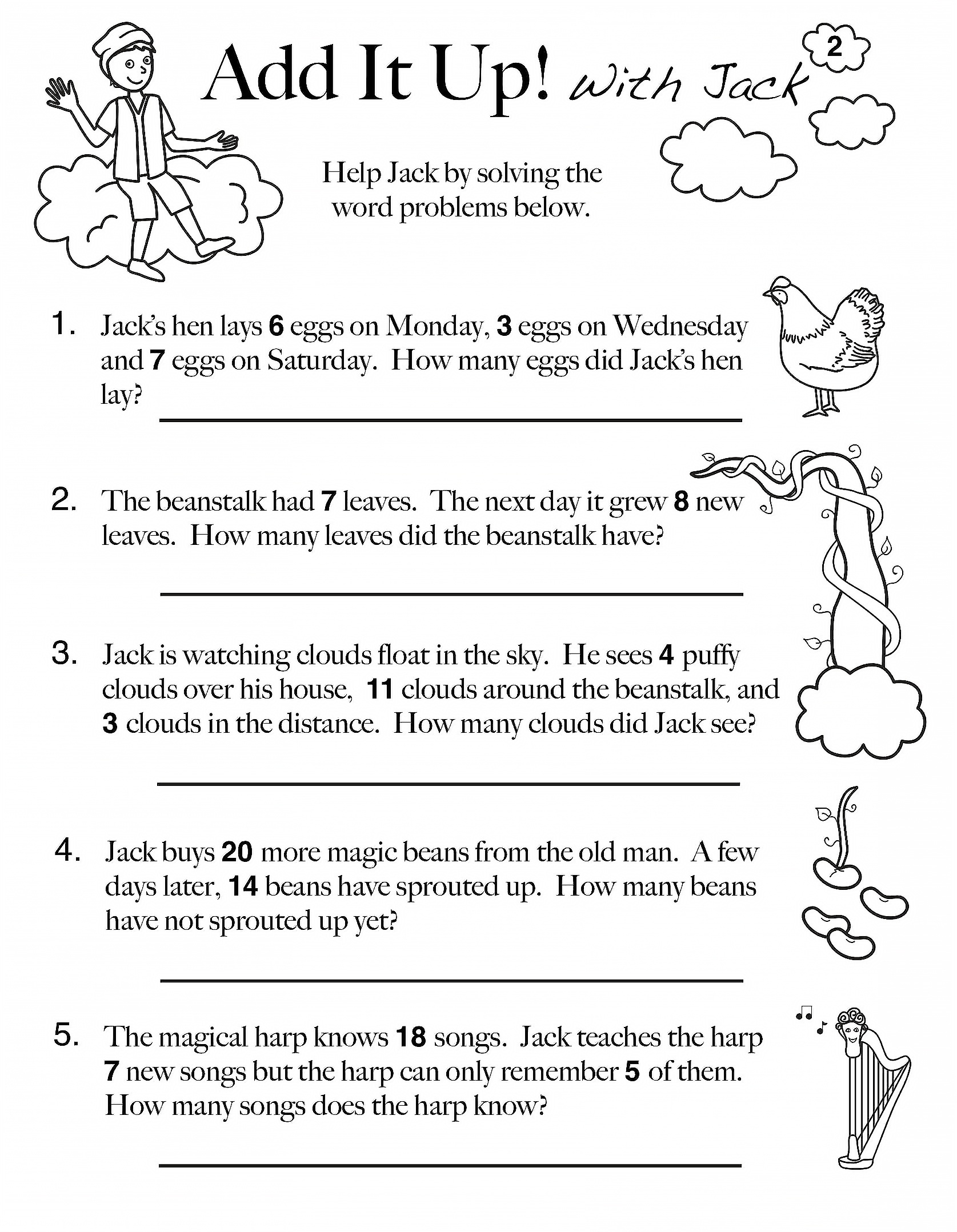 For 1st Grade Subtraction Worksheet Problem Solving