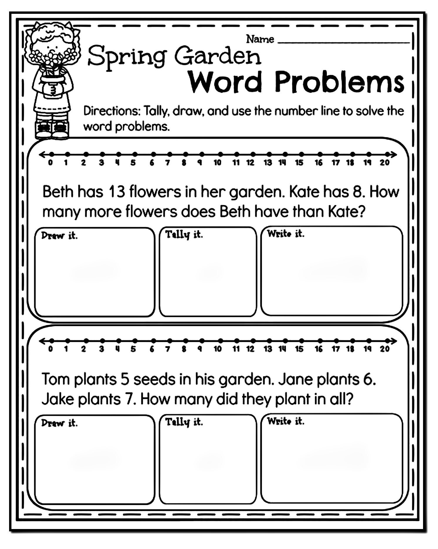 10 Amazing 1st Grade Math Word Problems Worksheets Samples