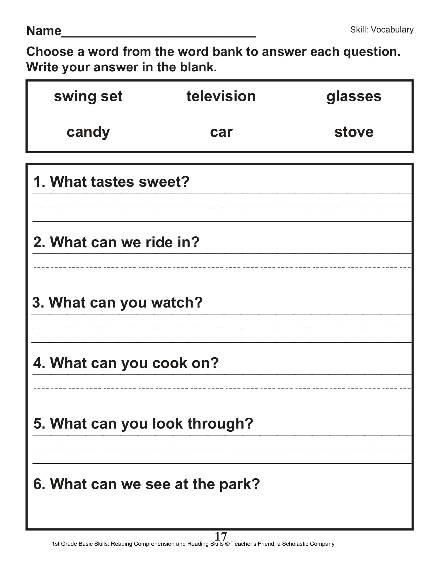 40 Scholastic 1st Grade Reading Comprehension Skills