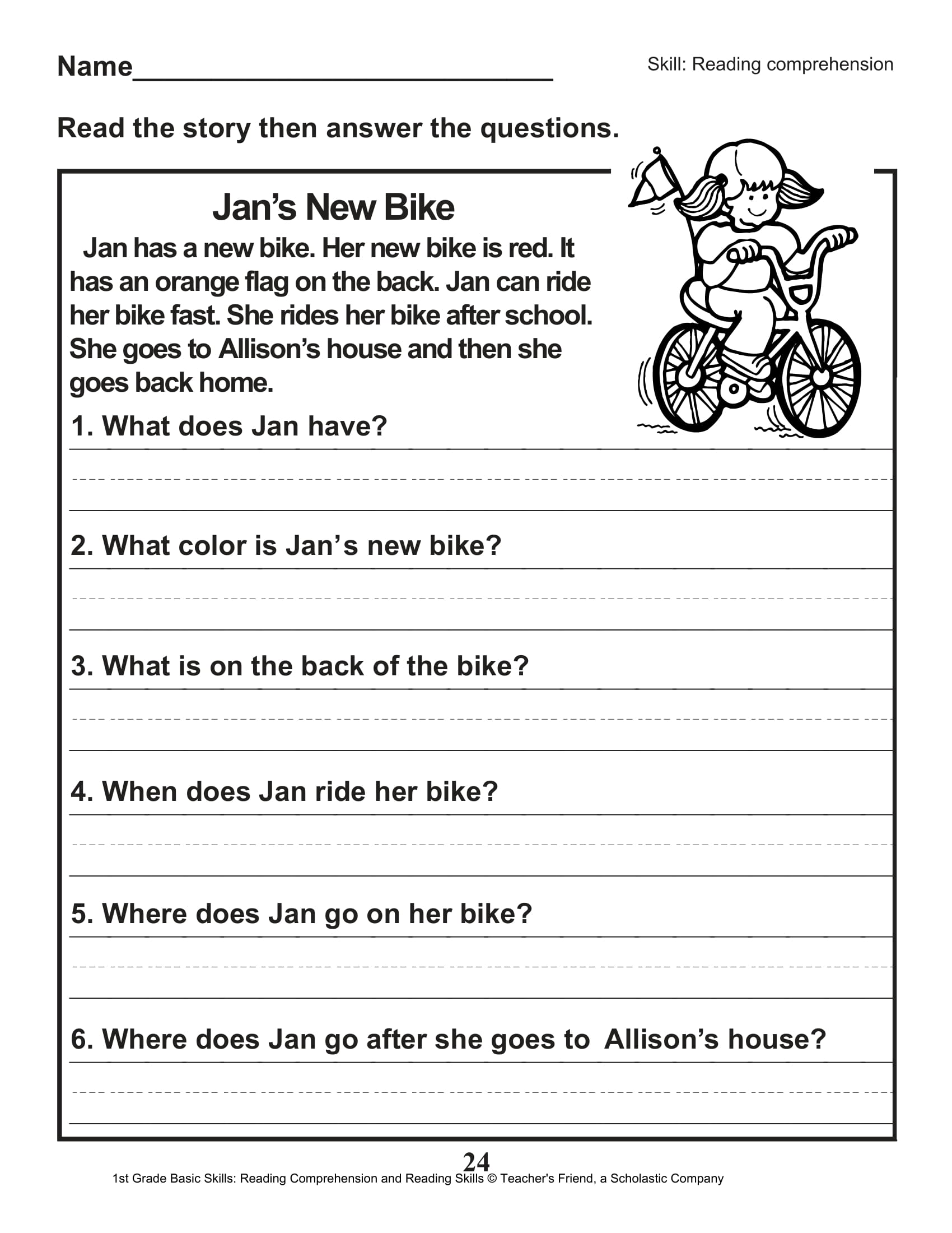 40 Scholastic 1st Grade Reading Comprehension Skills