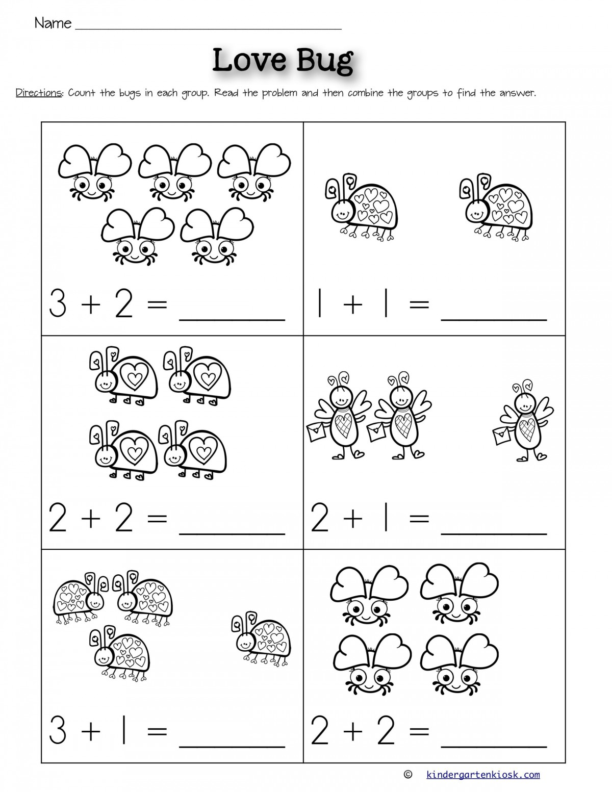 Kinder Addition Worksheets
