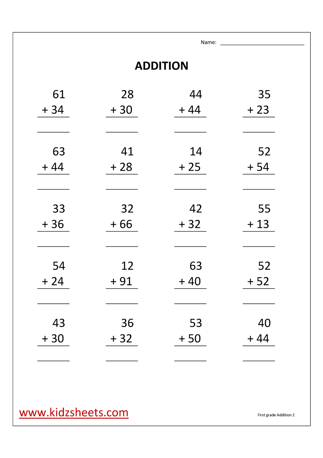 1st Grade Math Addition Worksheets
