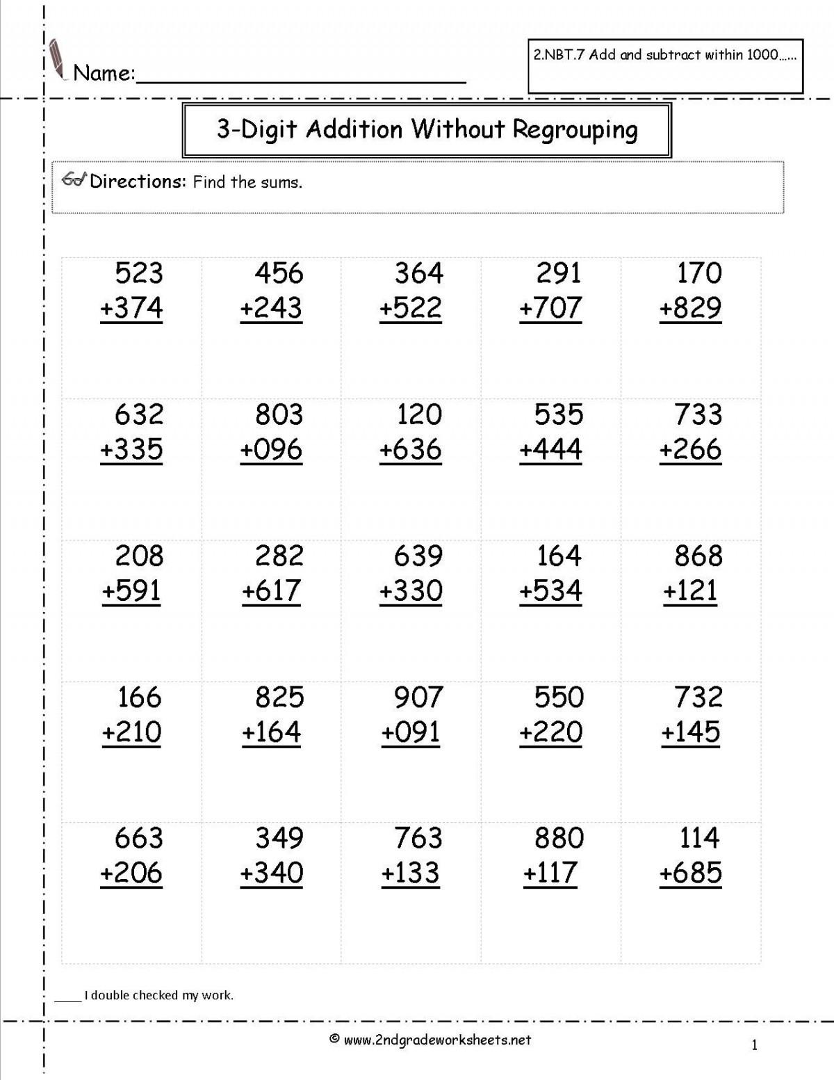 Second Grade Math Addition Worksheets
