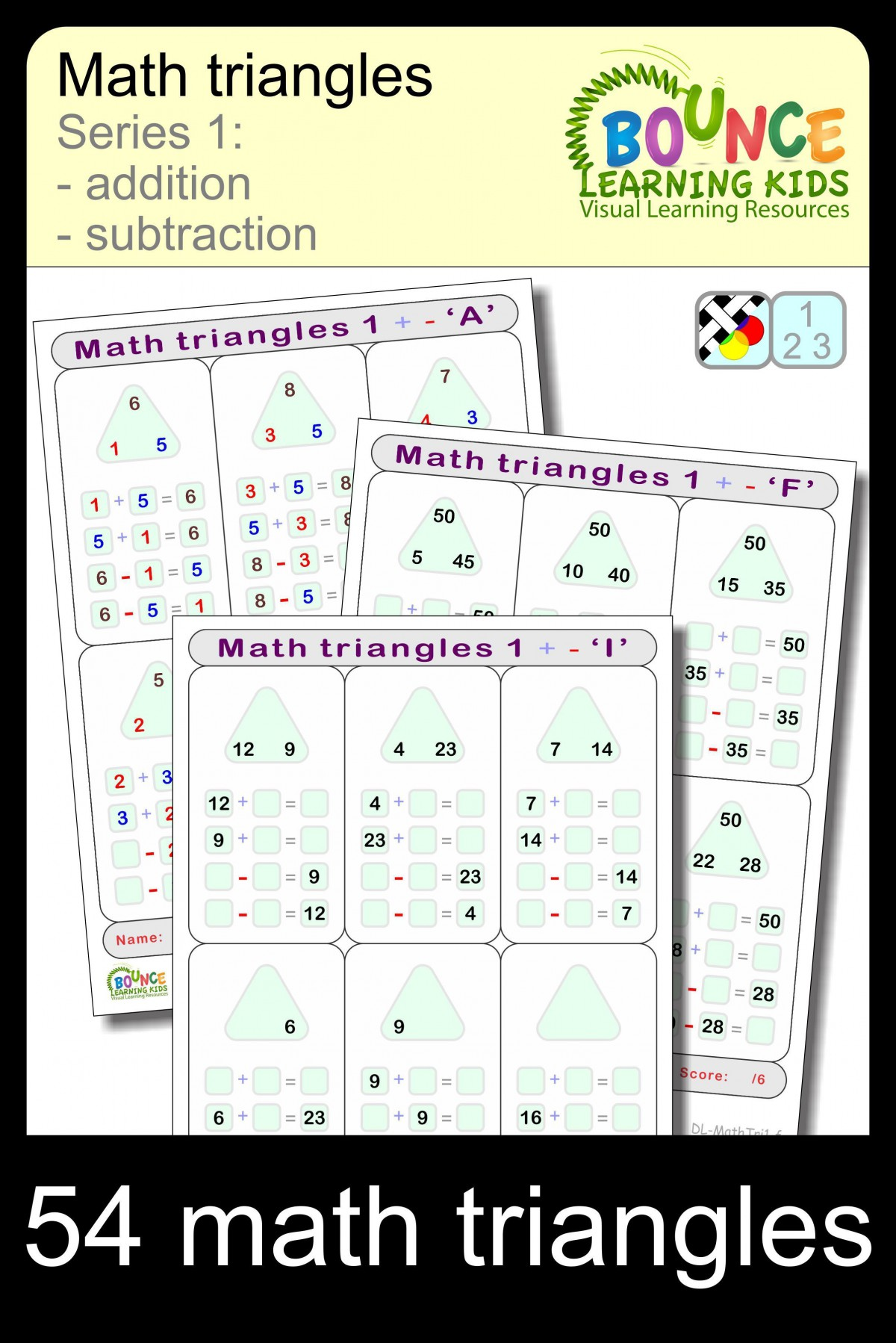 Addition Triangles Worksheets