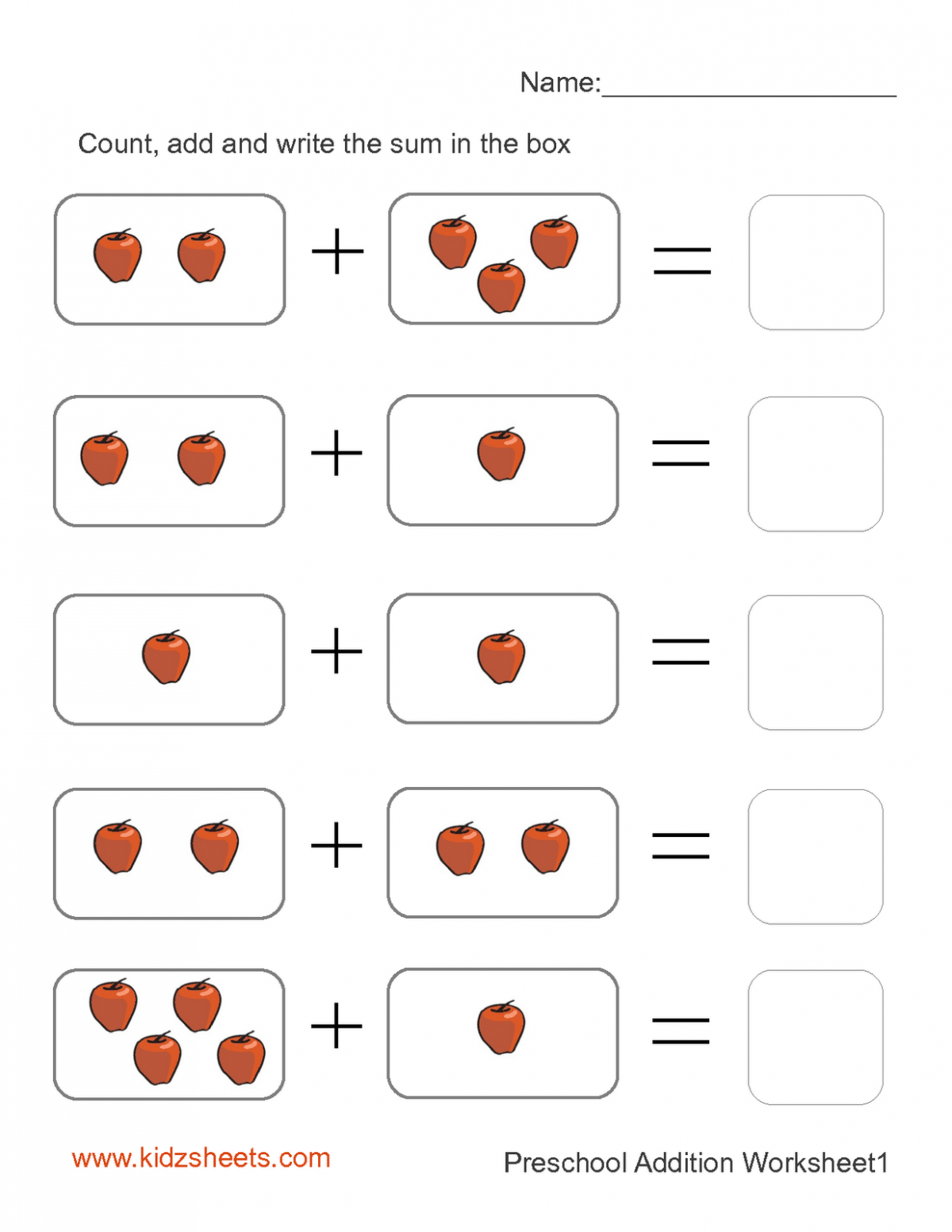 Preschool Addition With Pictures Worksheets