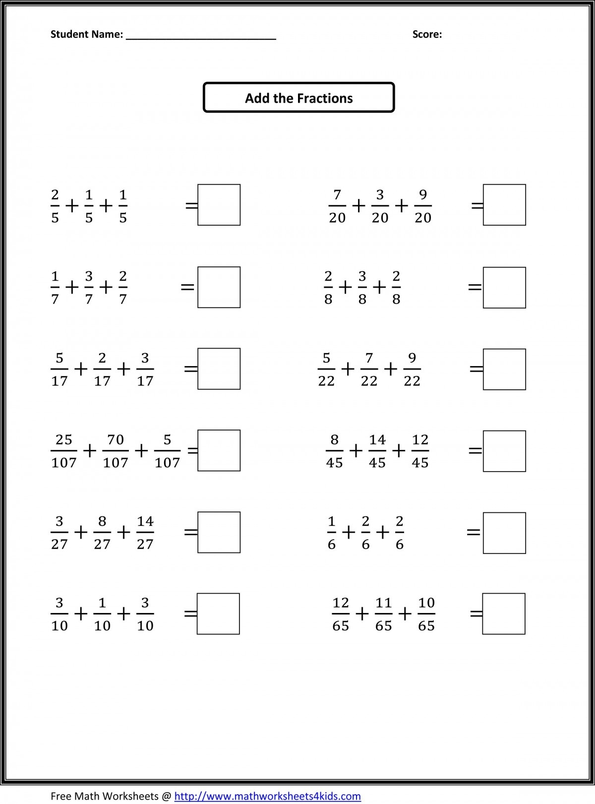 Fraction And Properties Of Addition 4th Grade Worksheets