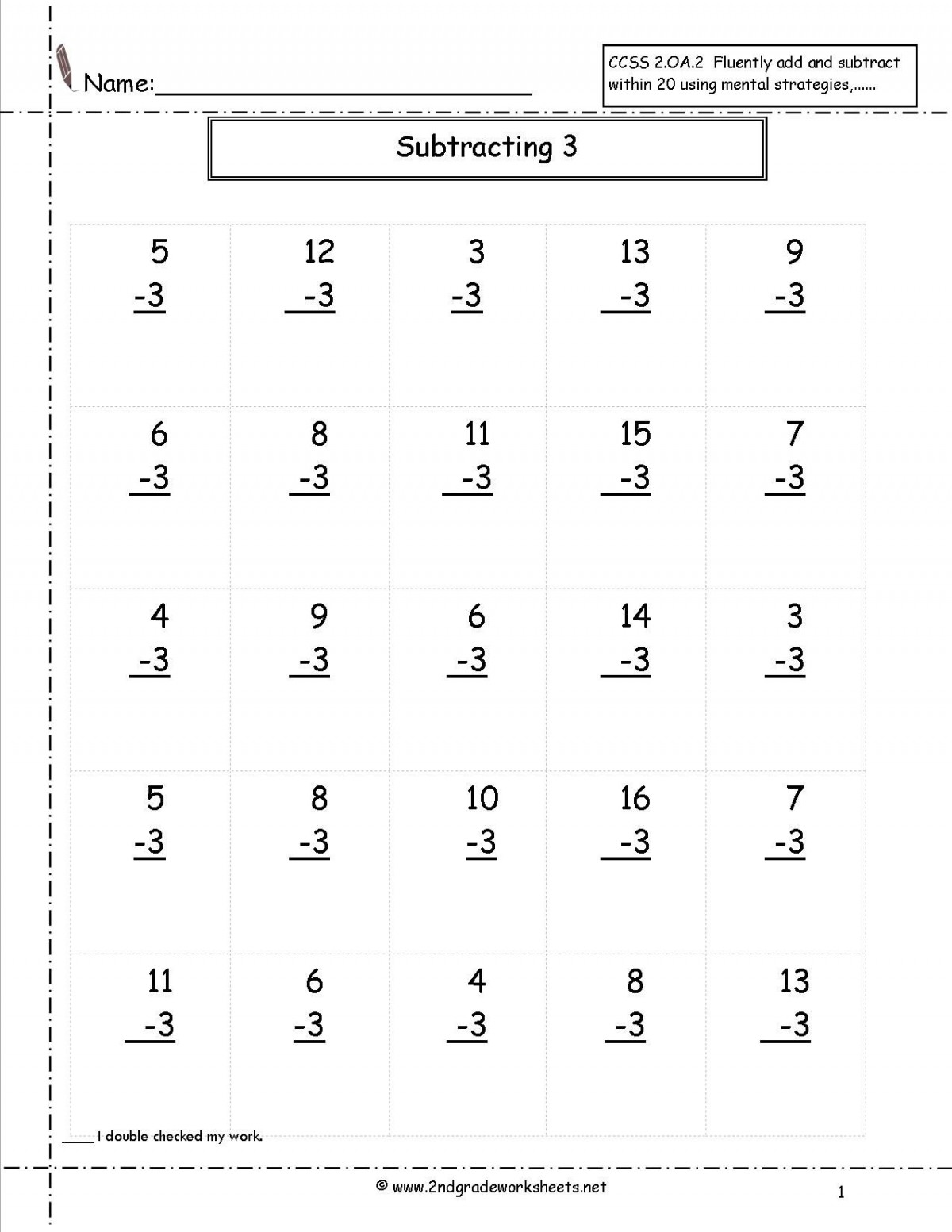 Second Grade Addition And Subtraction Worksheets