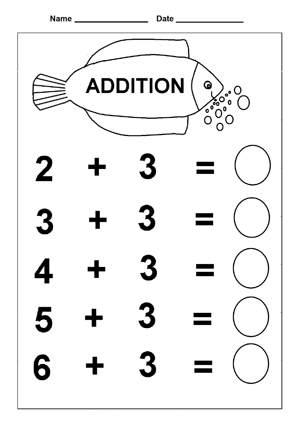 Kindergarten Addition Practice Worksheets