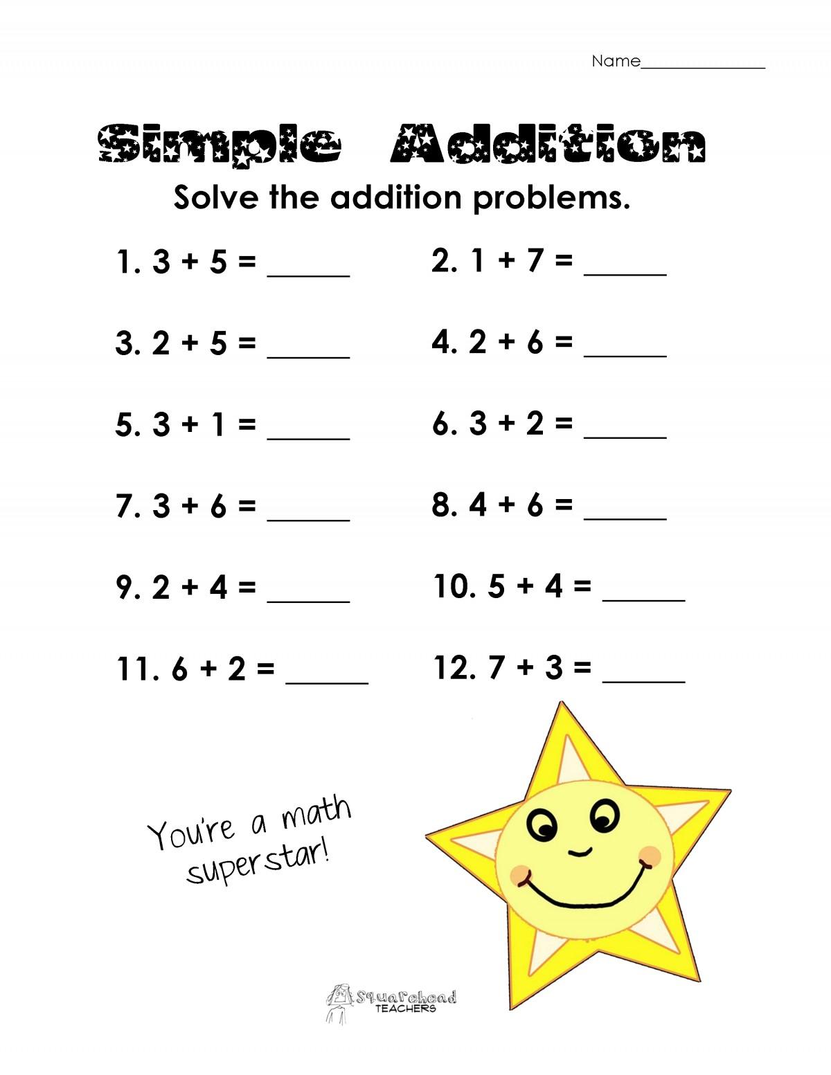 Simple Addition Problem Worksheets
