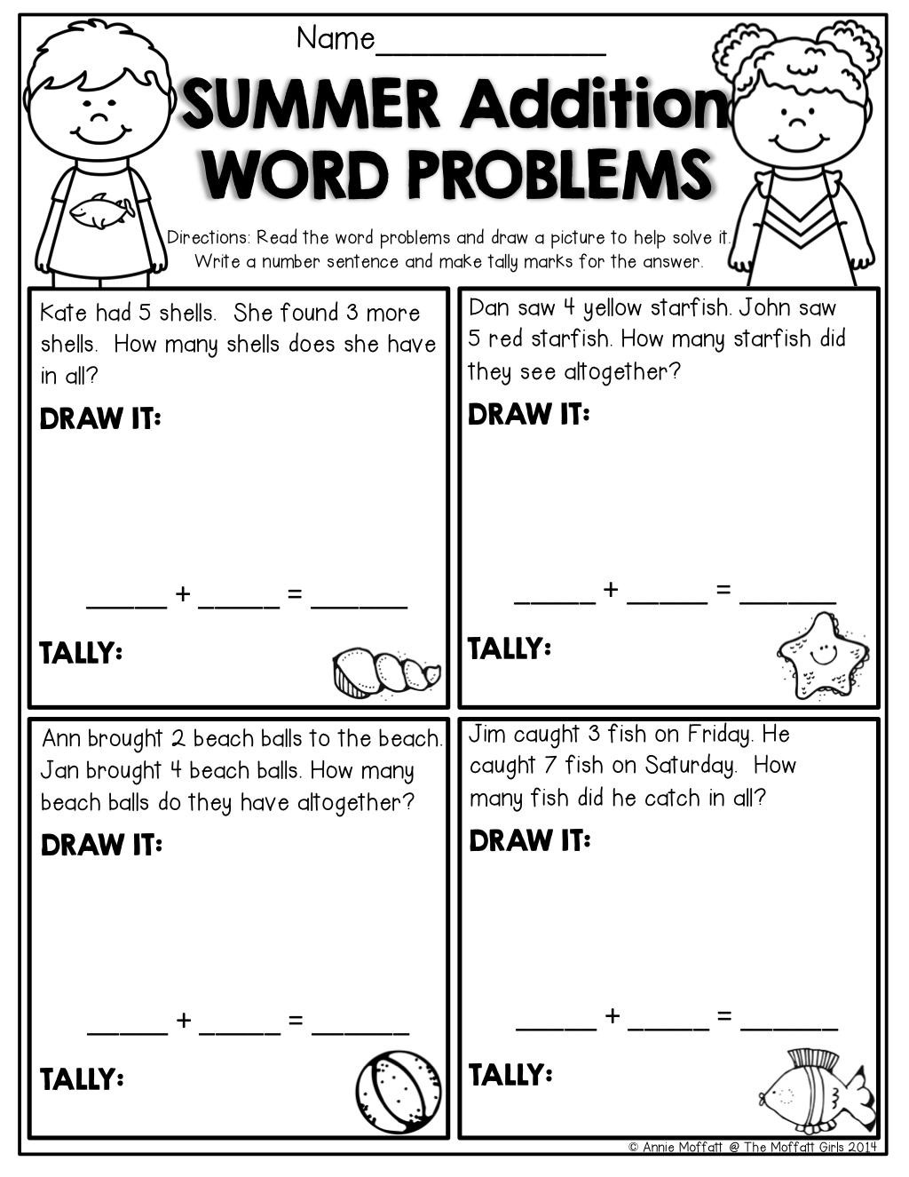 Addition Story Problems For Kindergarten Worksheets