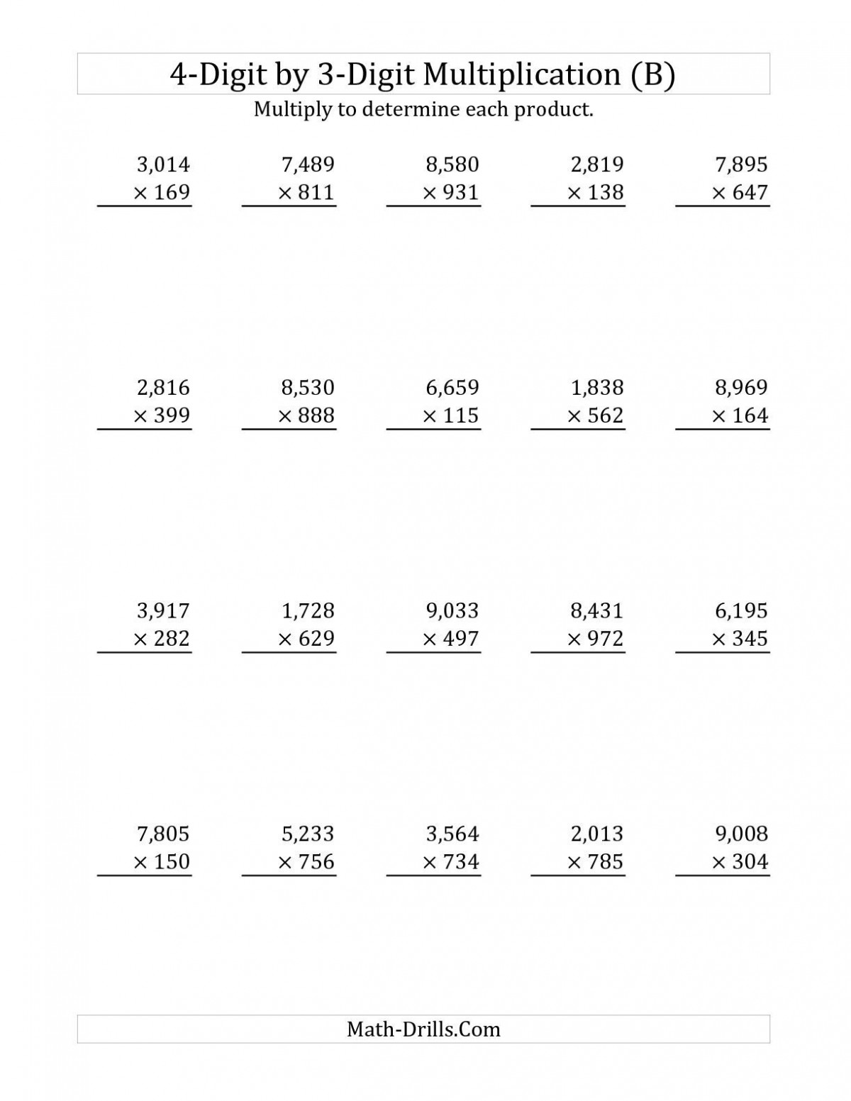 Long Addition Worksheets
