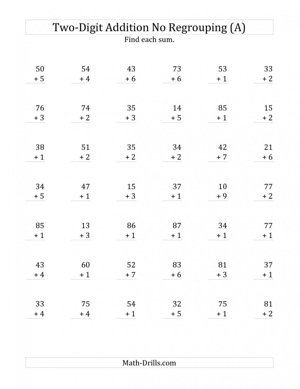 2 Digit Plus 1 Digit Addition Worksheets