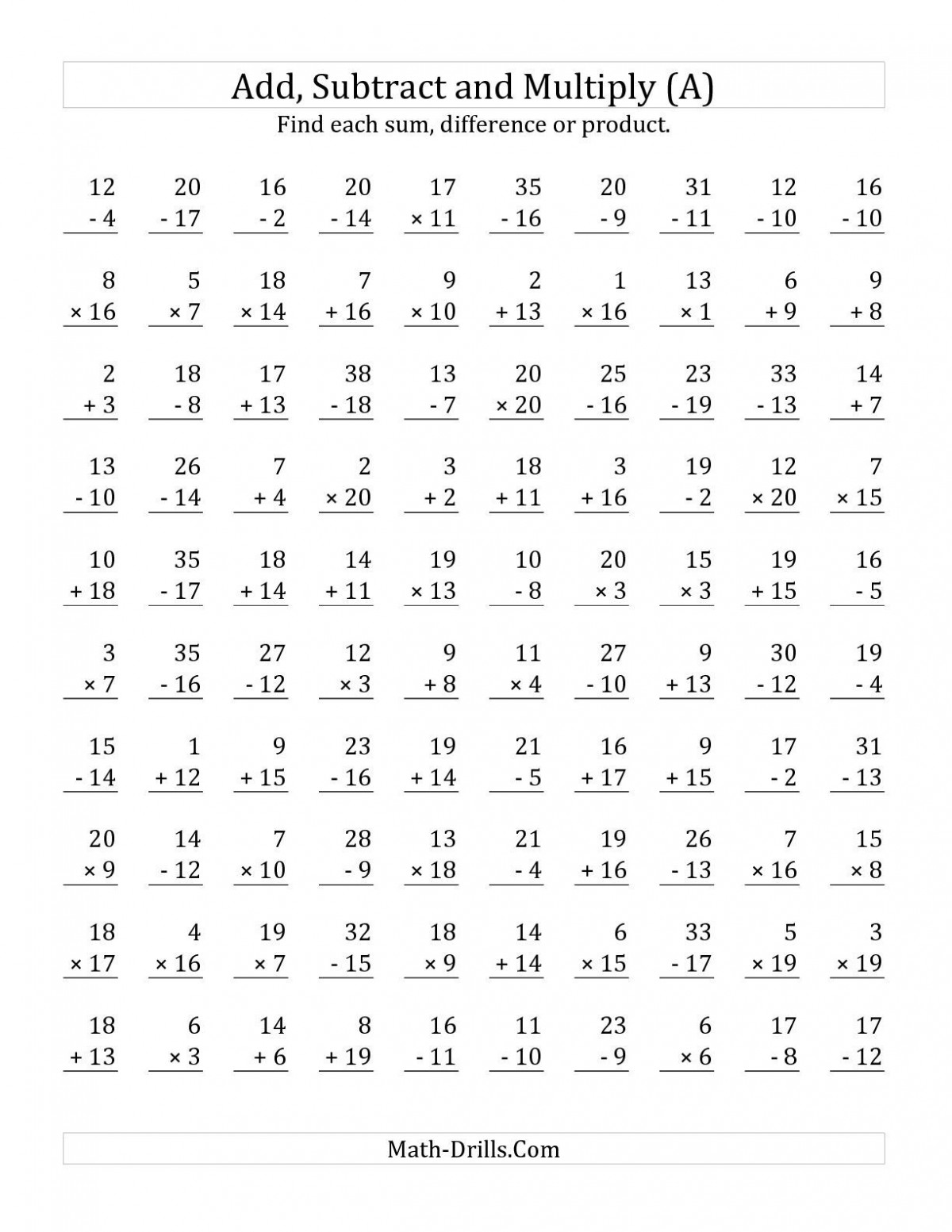 Mixed Addition And Subtraction Facts Worksheets