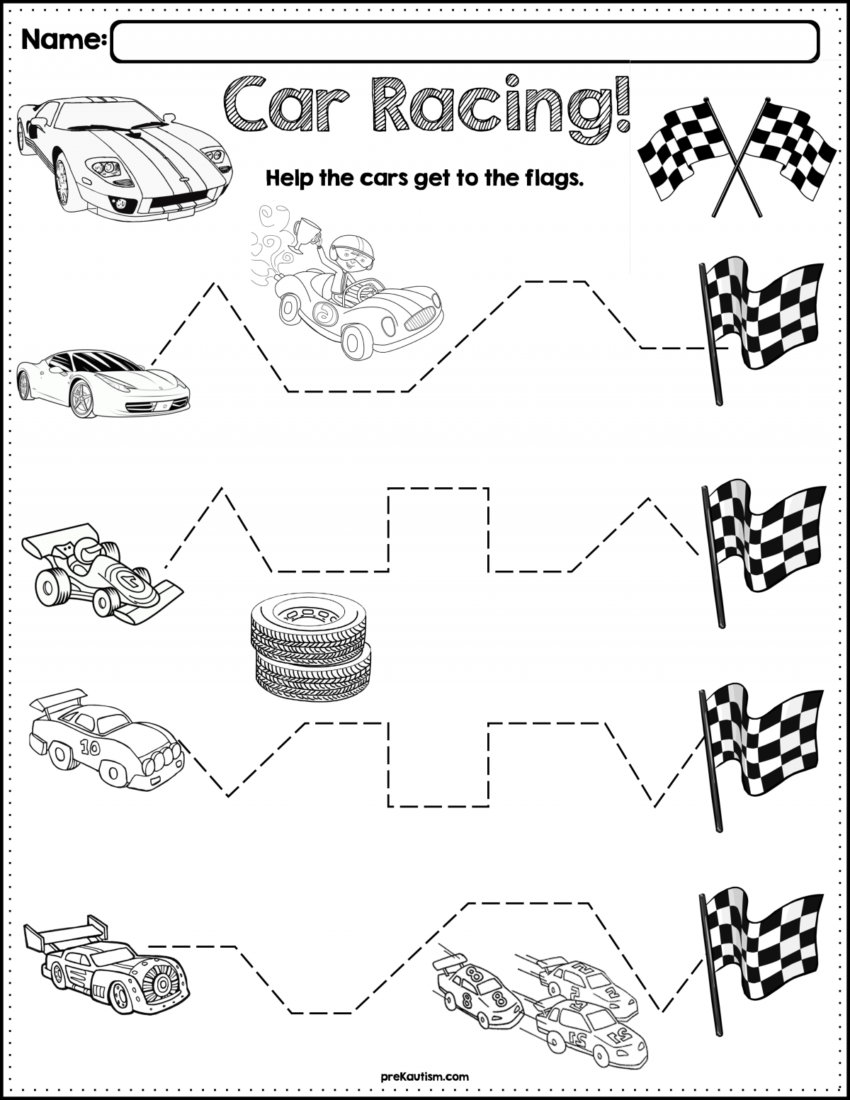 Car Pattern Worksheets