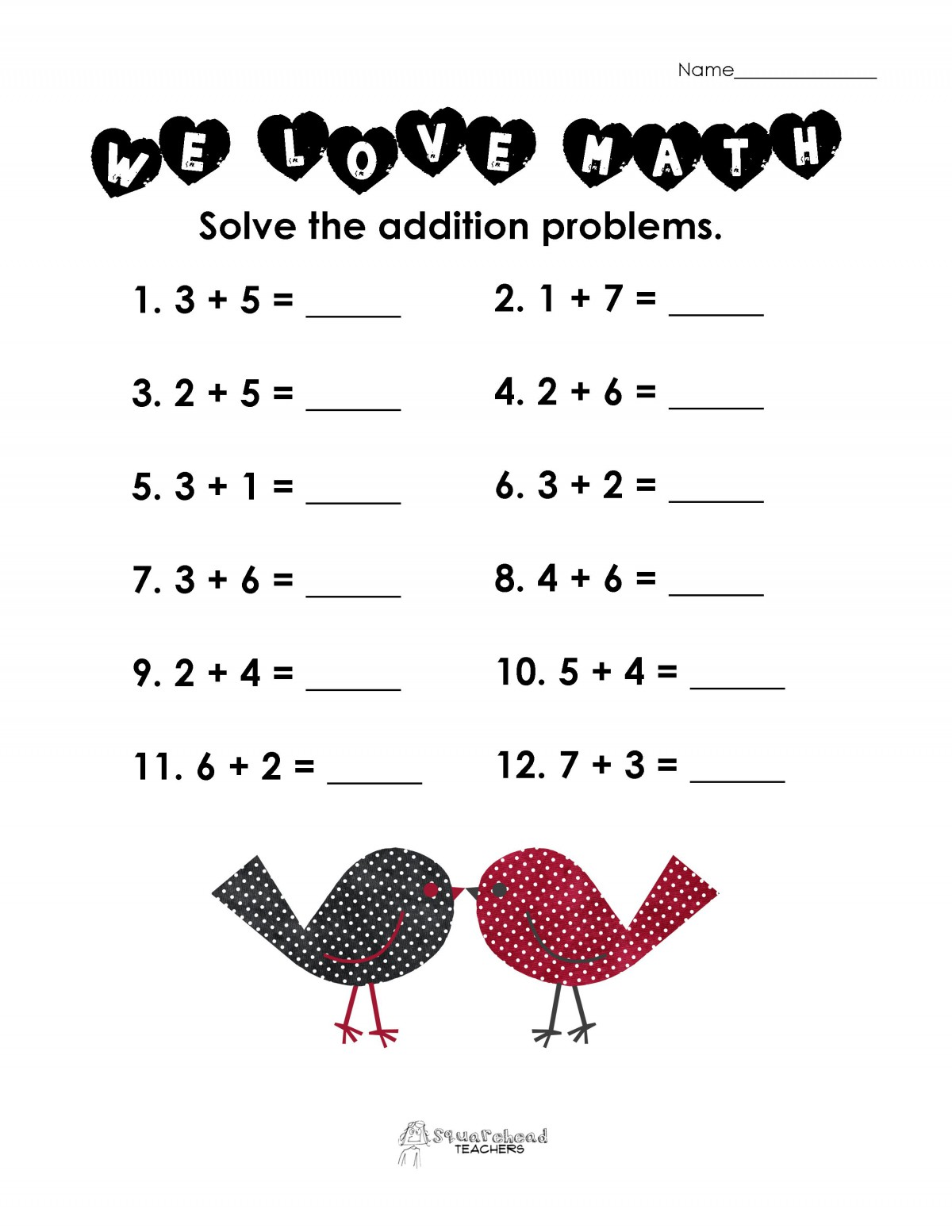 Valentine Addition Worksheets