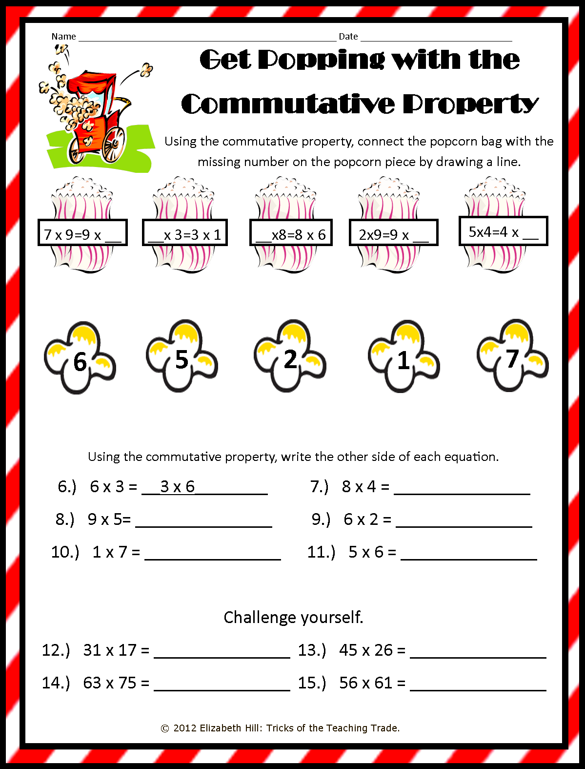 Properties Of Addition And Multiplication Chart Worksheets