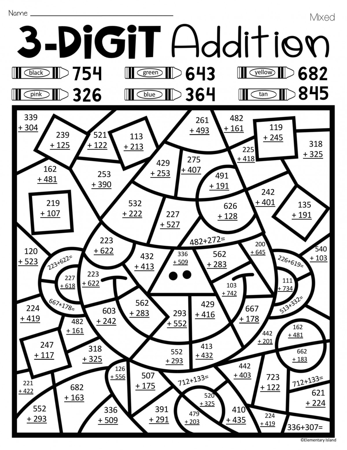 3 Digit Addition Coloring Worksheets