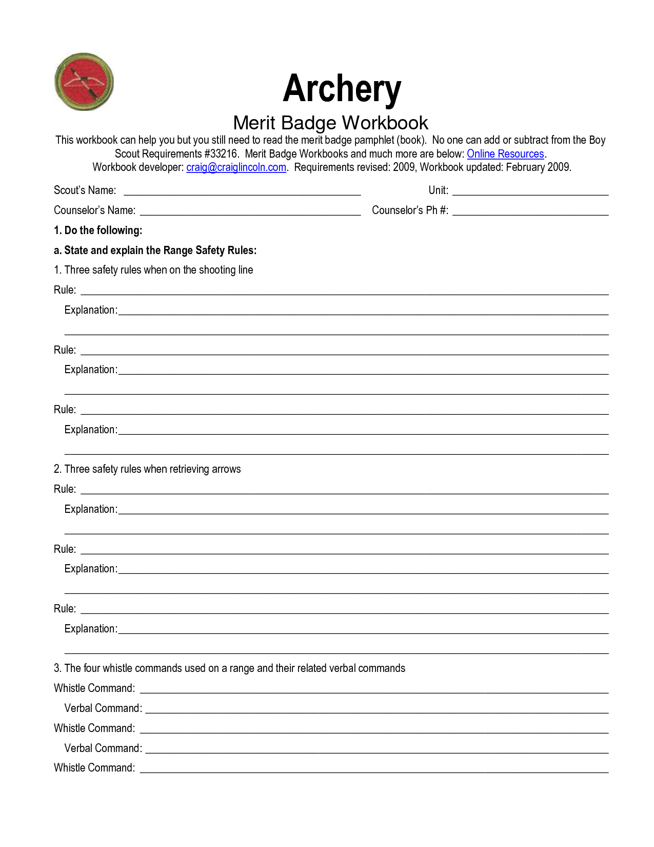 Swimming Merit Badge Worksheet
