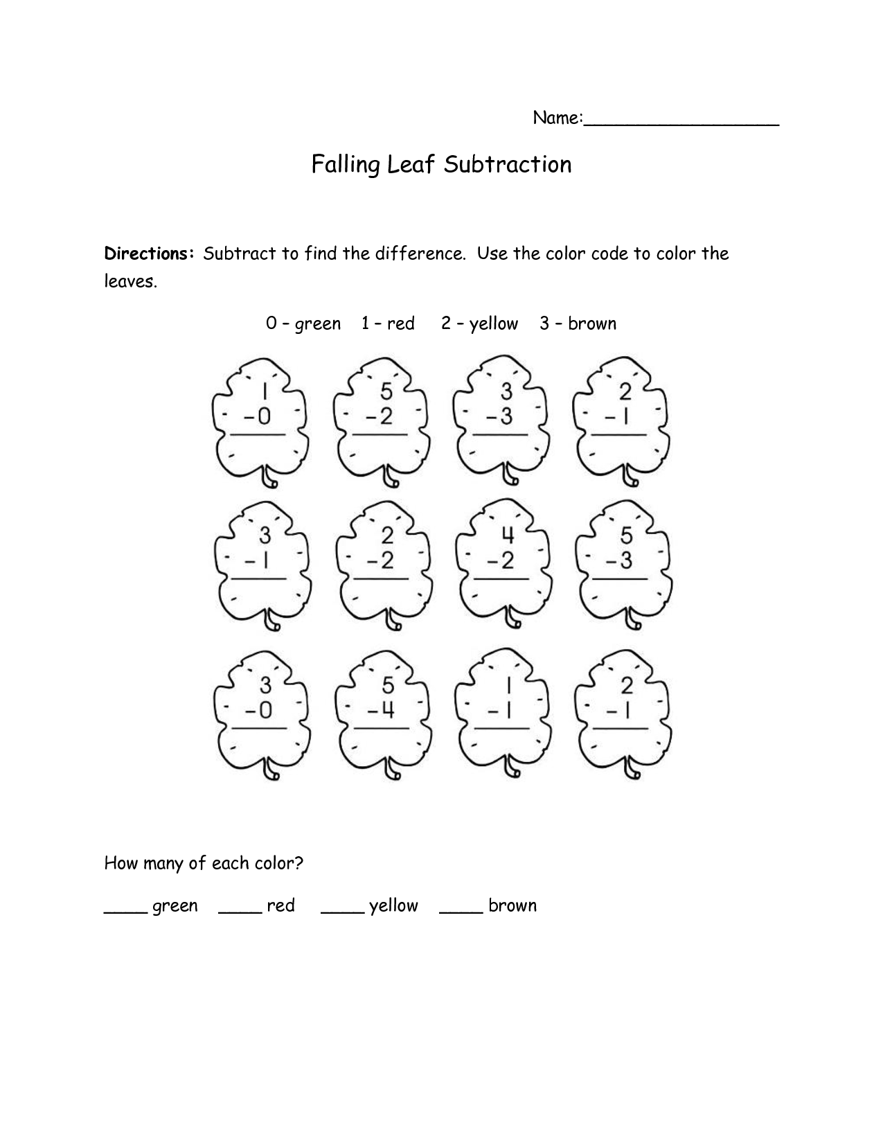Fall Math Worksheet Grade 1