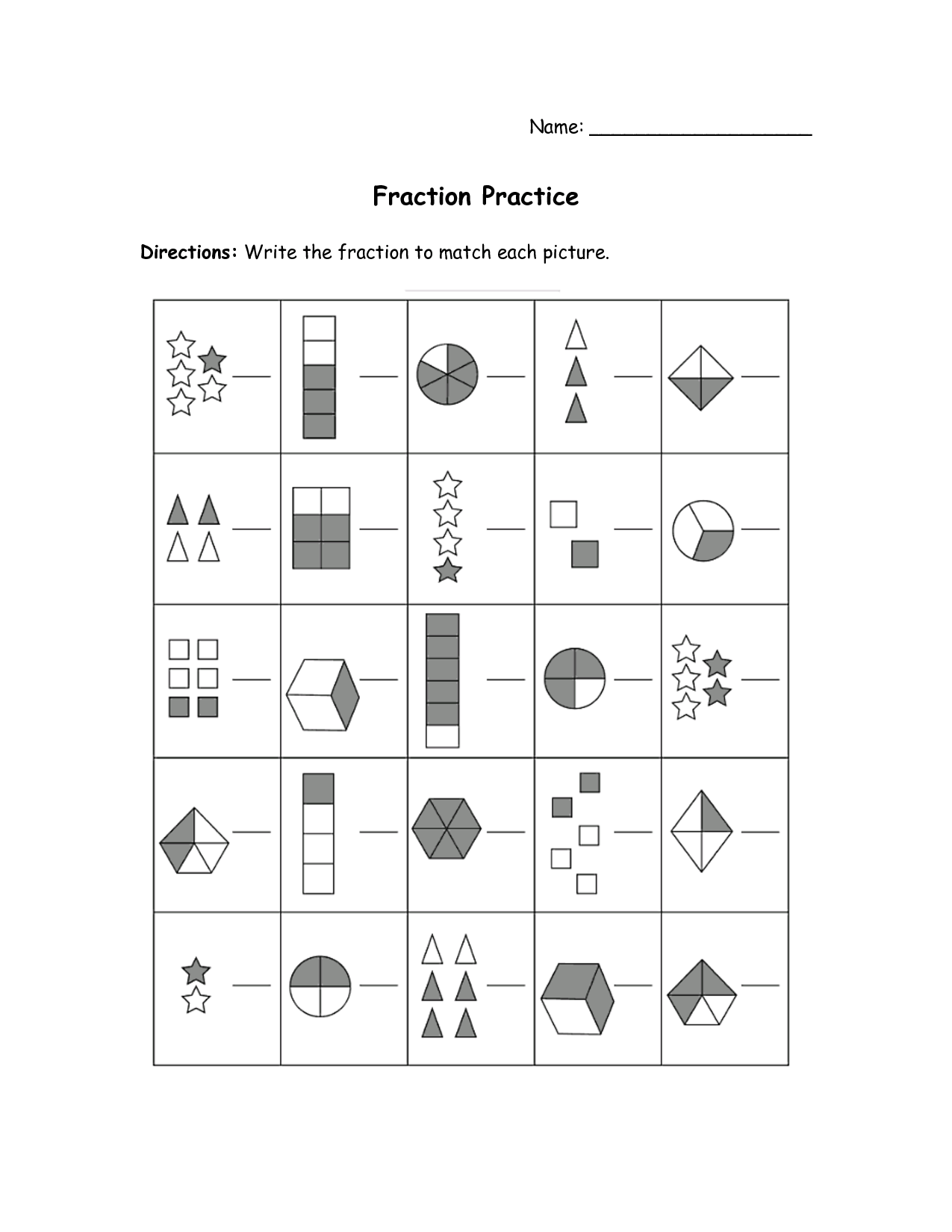 Adding Fractions Printable Test Worksheet