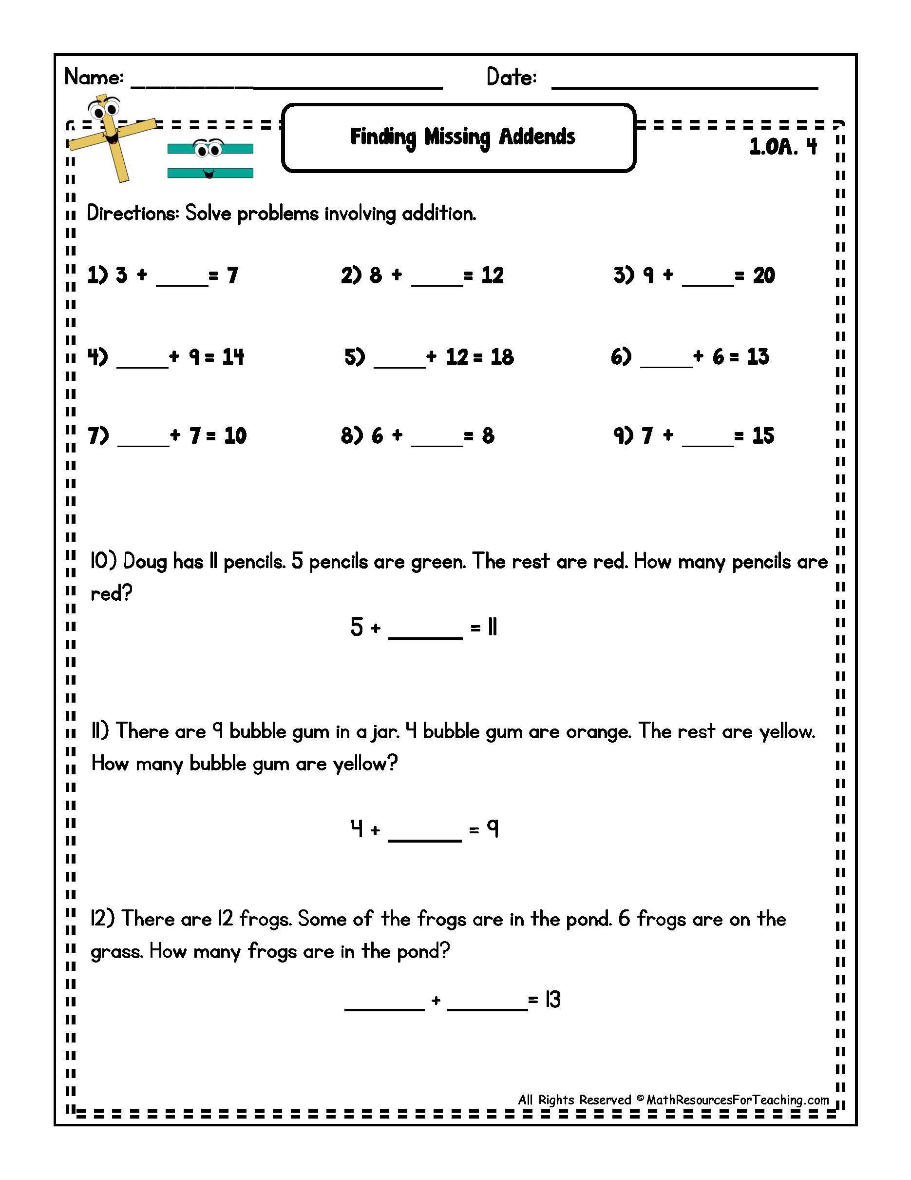 15 Best Images Of Missing Addend Worksheet For 3rd Grade