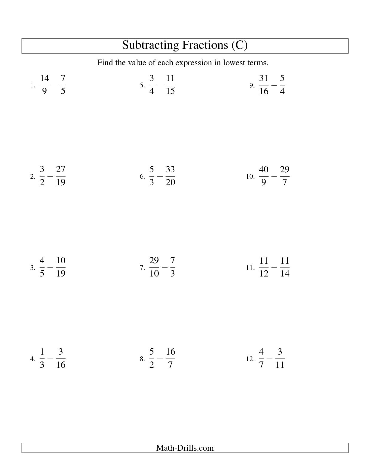 11 Best Images Of Subtracting Fractions With Unlike Denominators Worksheet