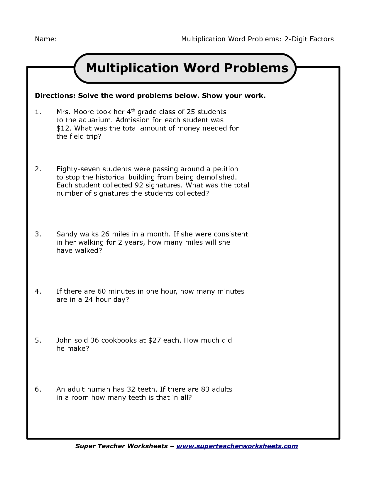 Fourth Grade Math Worksheet Word Problems