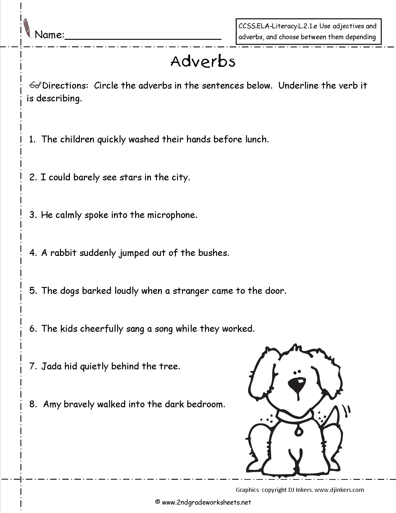 Adverbs Coloring Worksheet