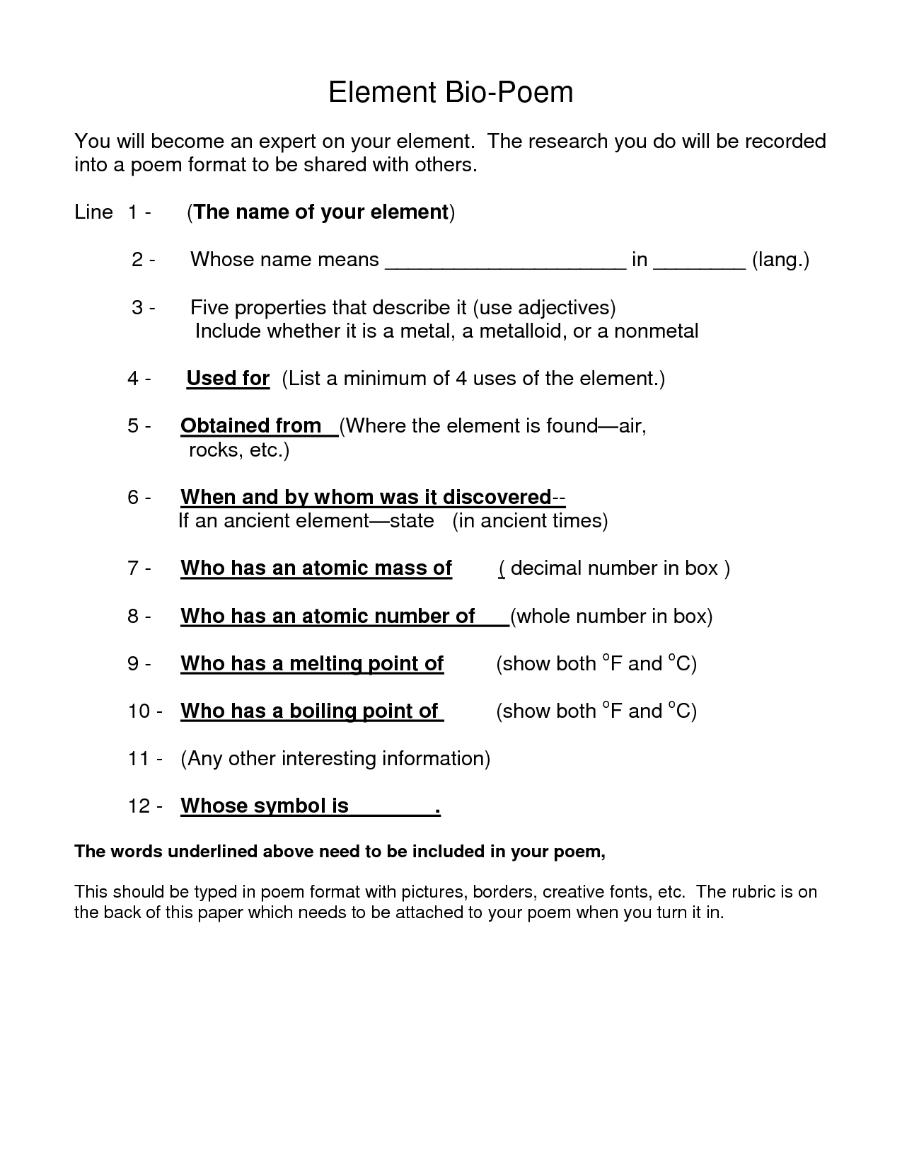 16 Best Images Of Auto Bio Poem Worksheet