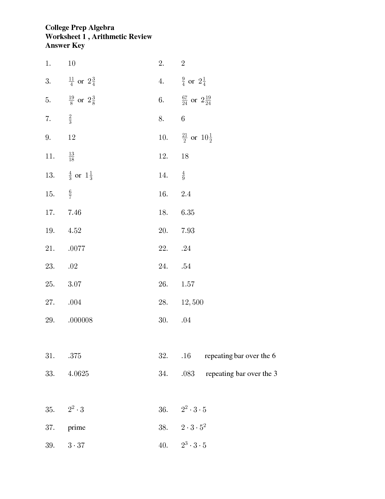 Multiplication Worksheet And Answers