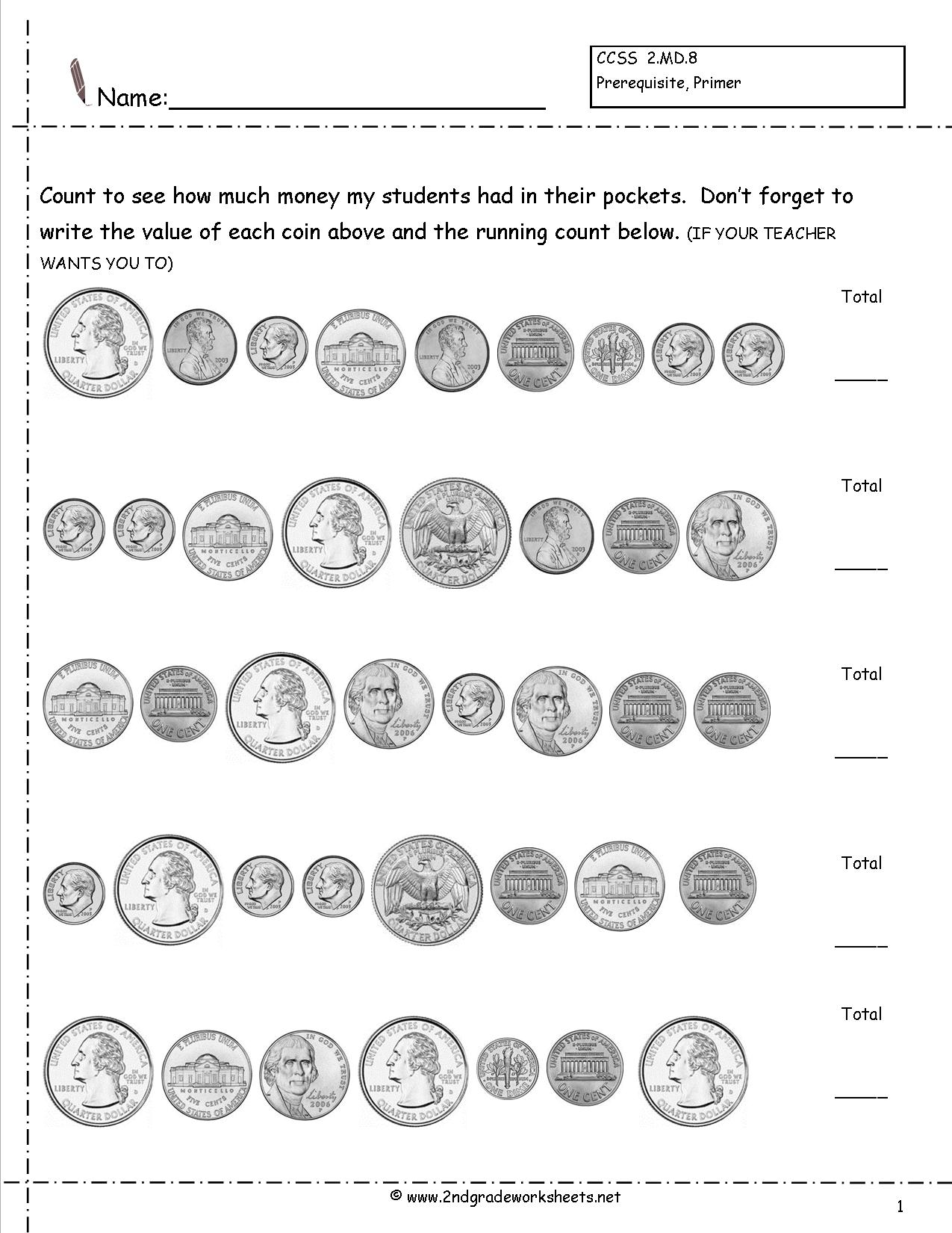 Counting Money Worksheet For 2nd Grade