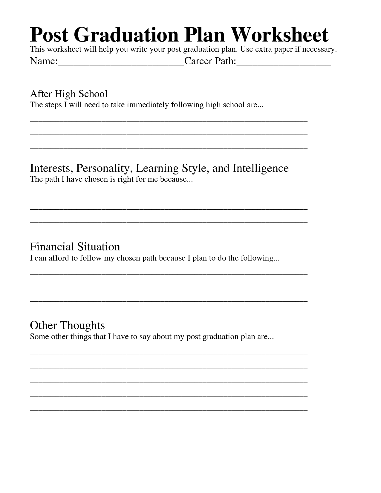 12 Best Images Of High School Graduation Worksheet