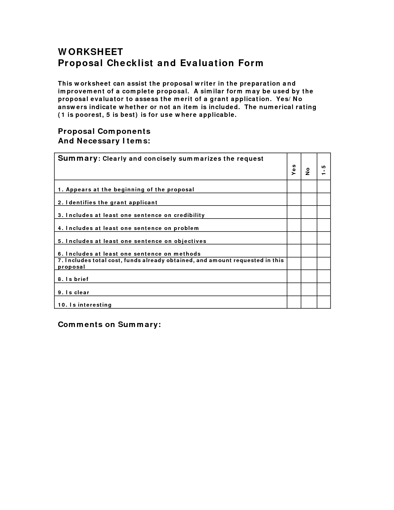 Evaluation Worksheet