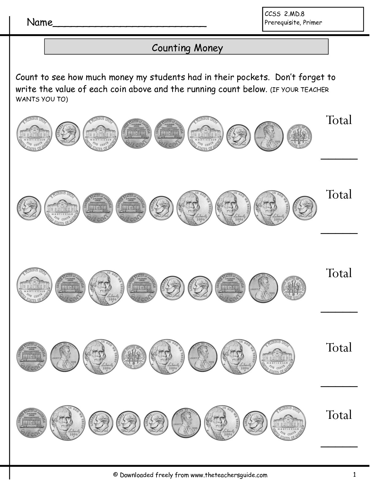 13 Best Images Of Counting Money Worksheets Printable