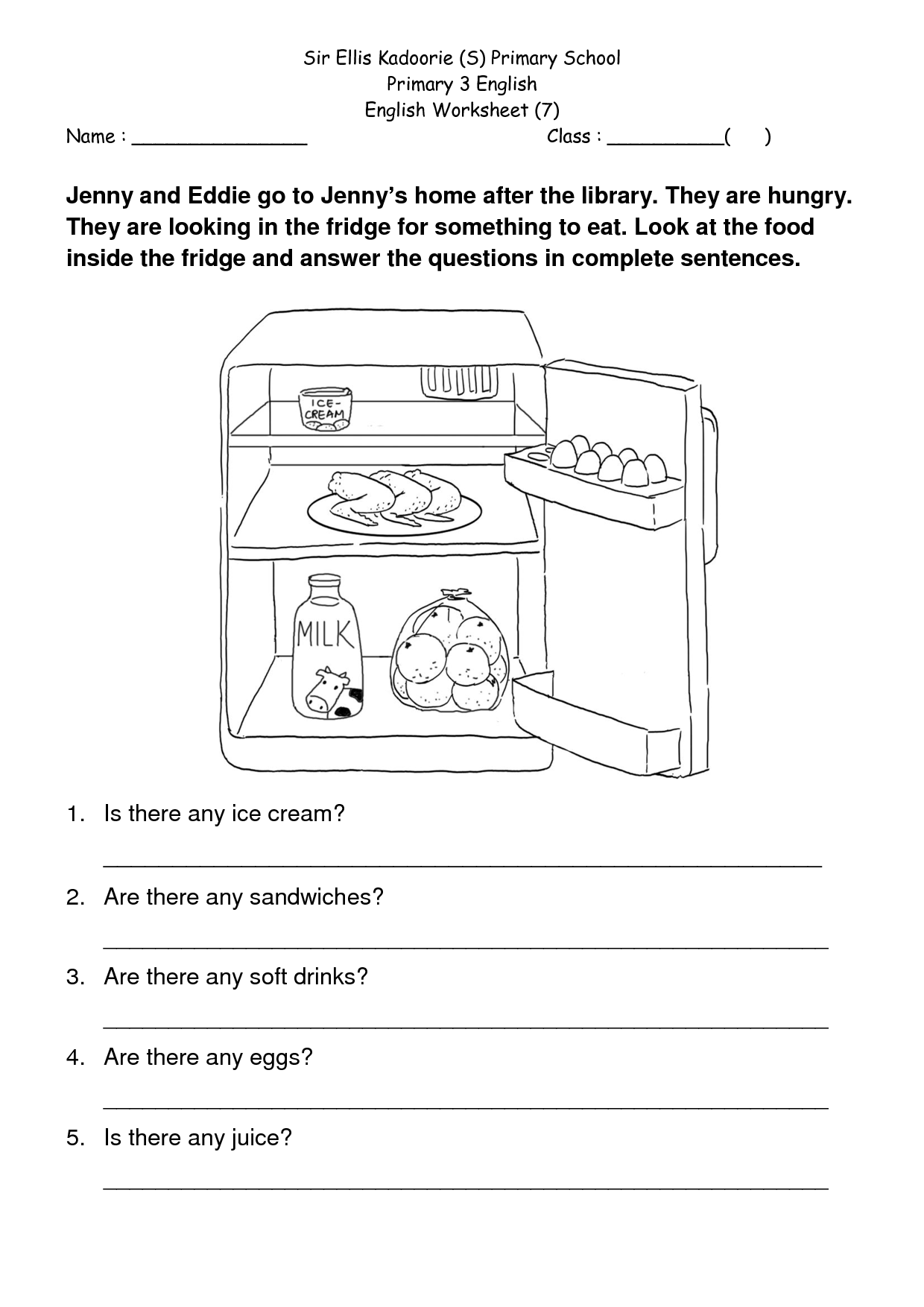 English Prehension Worksheet For Grade 3