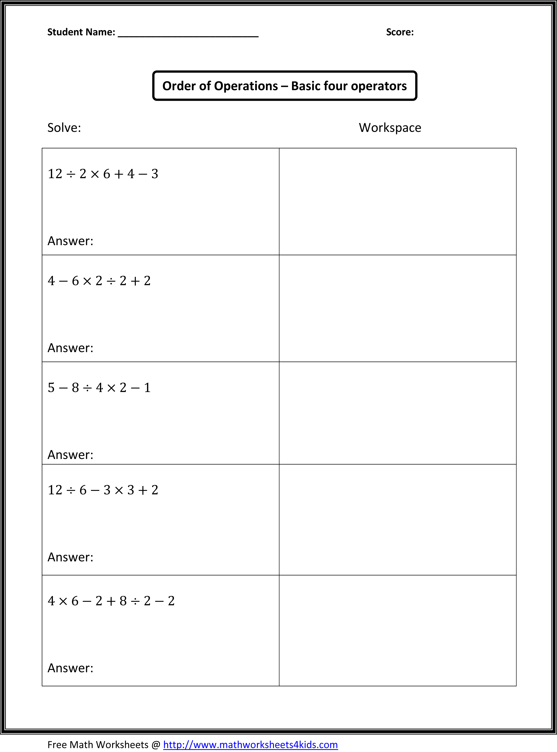 17 Best Images Of 5th Grade Math Word Problems Printable