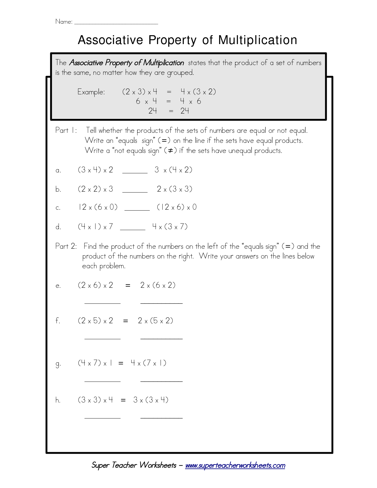 Distributive Property Of Multiplication Worksheet Answers