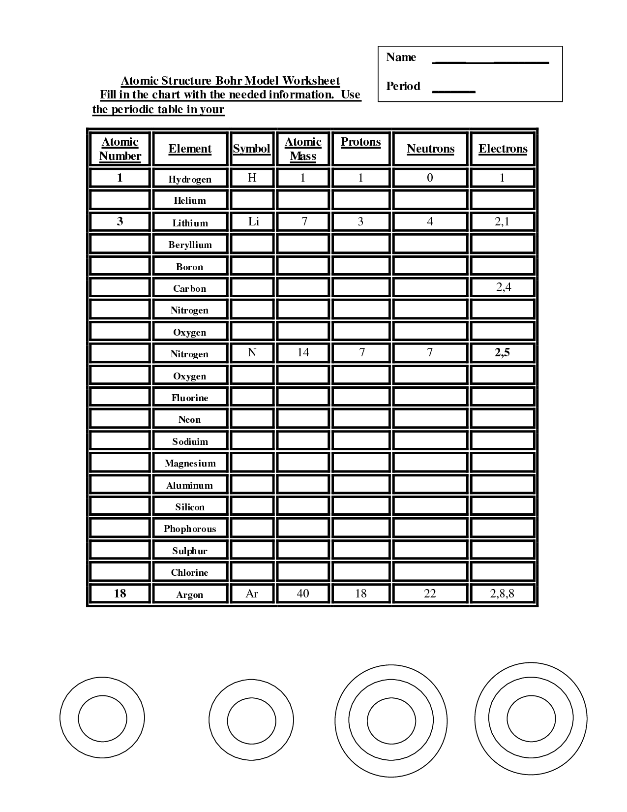 16 Best Images Of Atomic Structure Worksheet Answer Chart
