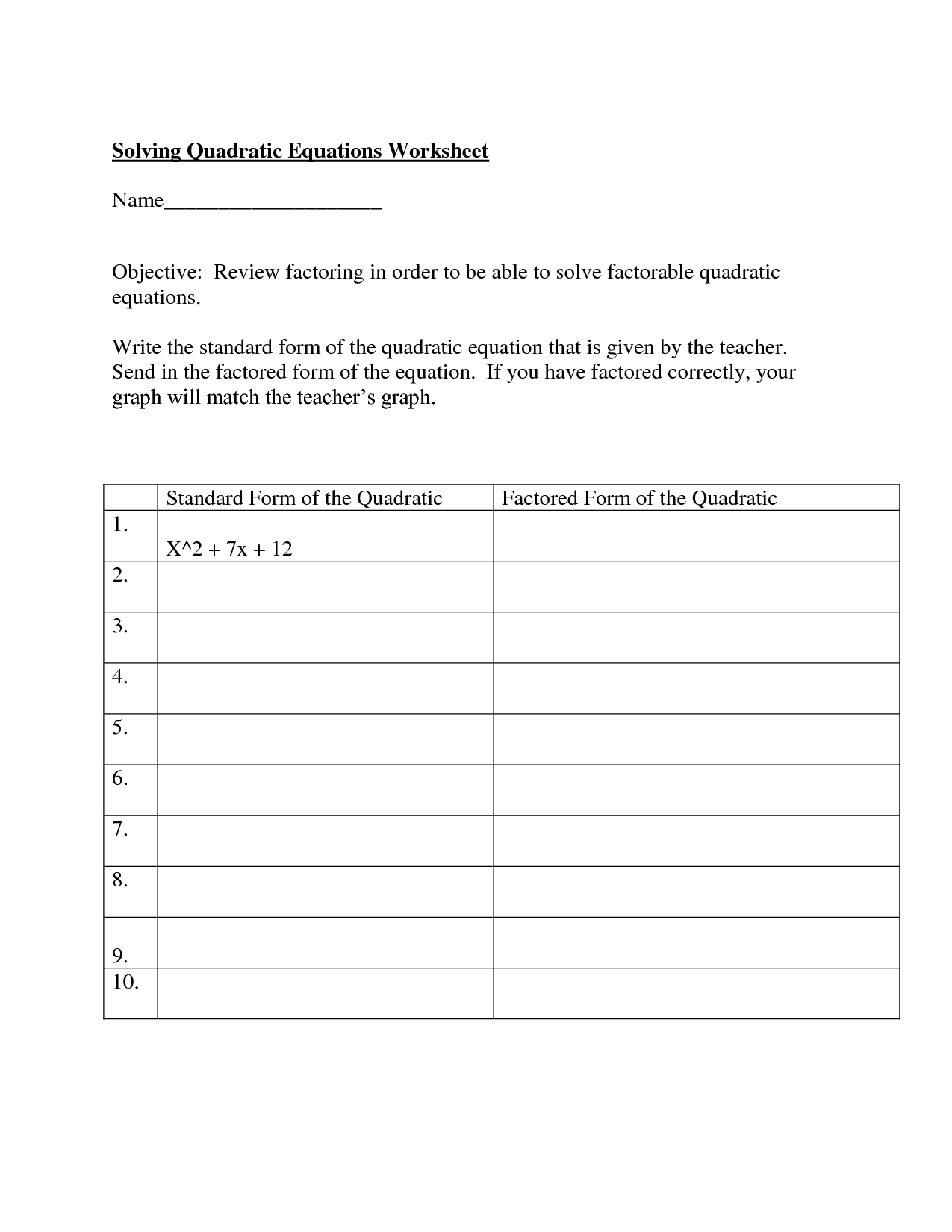 13 Best Images Of Solving Quadratic Equations By Graphing Worksheet