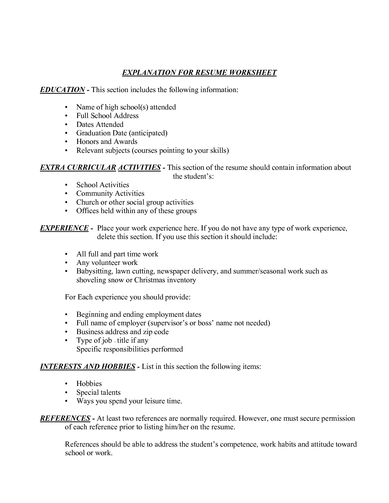 12 Best Images Of Resume Information Worksheet