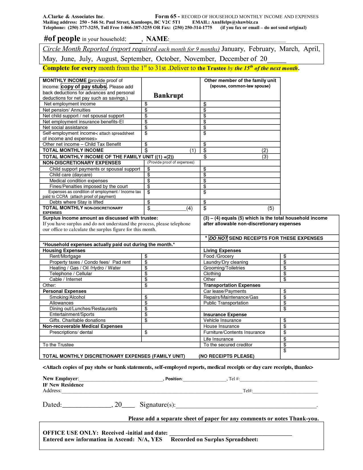 Project Income Expense Worksheet Sample