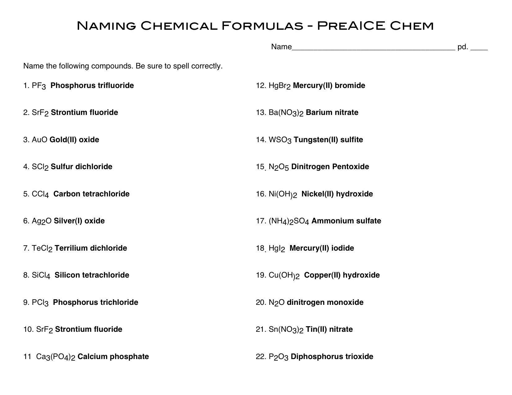 15 Best Images Of Naming Compounds Worksheet Key